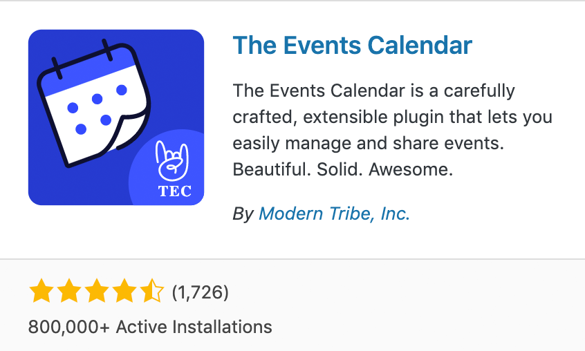The Events Calendar WordPress.org lListing