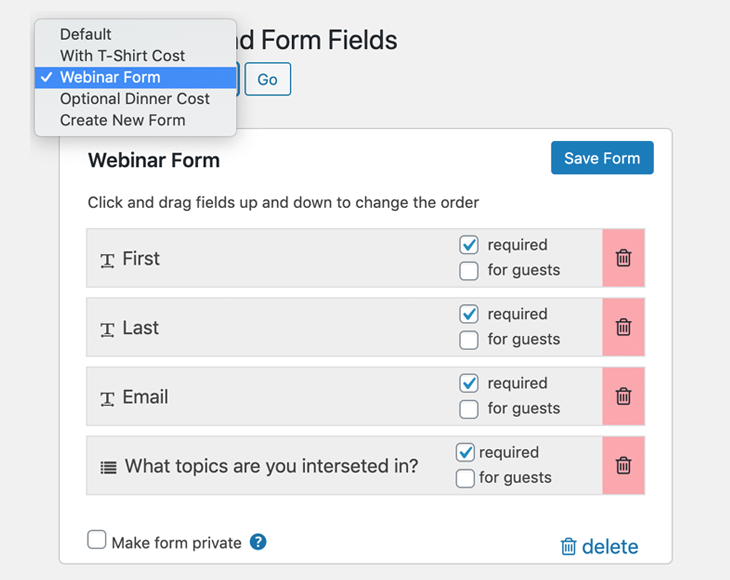 Custom form and form field building tool