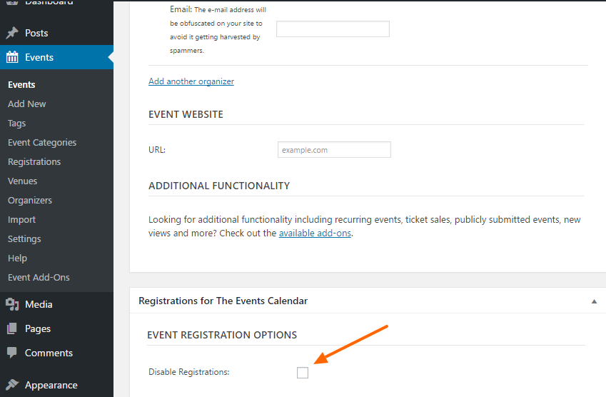 Disable registrations on edit event page