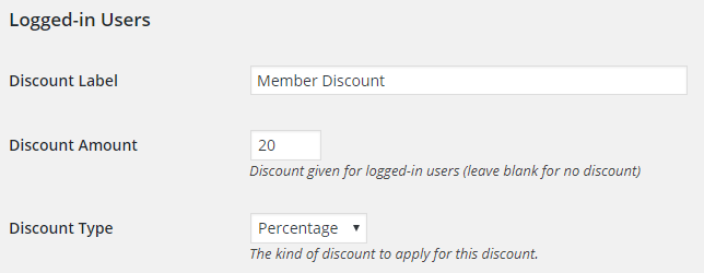 Membership discount setting.