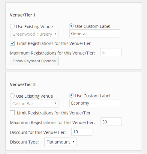 Venues and tiers discount settings