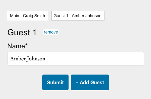 button to add multiple guests